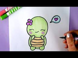 how to draw a sweet and cute turtle easy cute drawing of animals