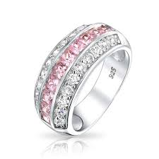 half eternity ring 925 channel set pink cubic zirconia wide half eternity ring
