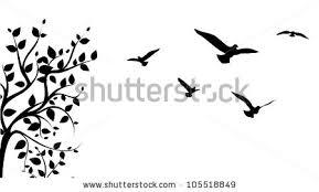 flight stock vector bird flying around a tree branch vector