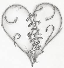 drawn broken heart human heart pencil and in color drawn broken