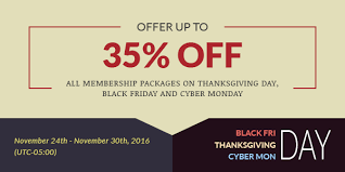 up to 35 all membership packages on thanksgiving day black