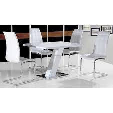 White Gloss Dining Tables And Chairs Aliyah High Gloss Dining Table In White Furniture Mill Outlet