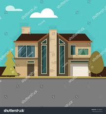 House With Garage Modern Family House Garage On Beautiful Stock Vector 371740876