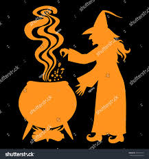 vector illustrations halloween orange silhouette witch stock