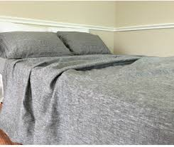 Grey Bed Frame Chambray Grey Bed Sheet Chambray Bedding Handcrafted By
