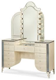 Michael Amini Bedroom by Michael Amini Hollywood Swank Upholstered Vanity And Mirror