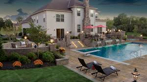 Outdoor Entertainment Center - the clearwater group landscape patio pool spa pavers lighting
