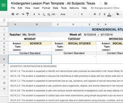 plan template kindergarten all subjects w all texas teks standards