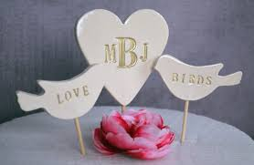 personalized heart wedding cake topper with i do me too birds
