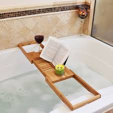 bathtub rack bamboo shelf shower tub book reading tray holder