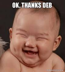 Thanks Baby Meme - ok thanks deb make a meme