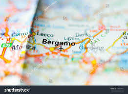 Italy On Map Macro View Of Bergamo Italy On Map Stock Photo 349758077