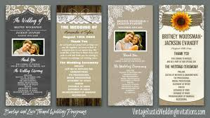sunflower wedding programs burlap wedding programs vintage rustic wedding invitations