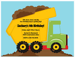 dump truck invitation construction zone collection sweet peach