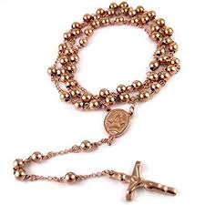 mens rosary 14k gold finish mens rosary chain necklace cross