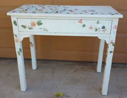 Shabby Chic Writing Desk by Vintage Handpainted Floral Solid Wood Shabby Chic Small Desk