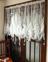 Sheer Curtains With Valance Lace Cafe Curtains Rural Sheer Curtain Lace Hollow Balloon Blind