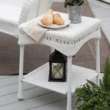 wicker side table with glass top white wicker side table baka 233