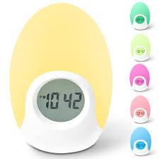 battery powered bedside l alarm clock awakelion soft led color changing night light alarm