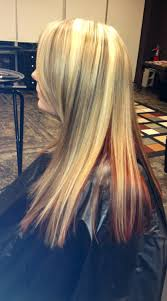 long blonde hair with dark low lights blonde with red underneath and dark highlights lowlights best hair
