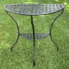 Black Wrought Iron Patio Furniture by Amazon Com International Caravan Mandalay Half Moon 2 Tier Table
