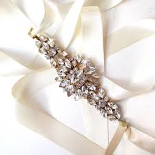 starburst rhinestone encrusted bridal belt sash white ivory