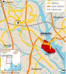 Dongguan China Map by Nansha Loses No Time Touting Strengths South China Morning Post