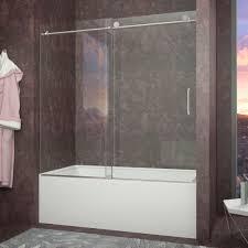 frameless glass tub doors kohler levity 59 in x 62 in semi frameless sliding tub door in