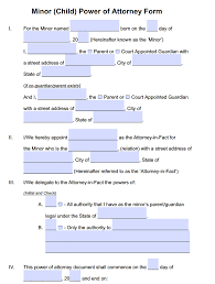 Power Attorney Form California minor child power of attorney forms pdf templates power of
