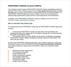 sample vendor contract template 13 free samples examples format