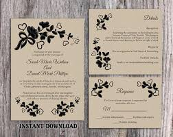 Burlap And Lace Wedding Invitations Diy Lace Wedding Invitation Template Set Editable Word File