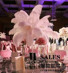 centerpiece for wedding white ostrich feathers slender rod plume centerpiece for