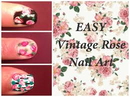 easy vintage rose nail art using dotting tool youtube