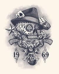 muerte skull gun vintage flower dice web 8 design