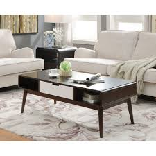 coffee table engaging bari storage coffee table soft white gloss