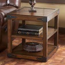 rosewood tall end table coffee brown brown end tables modern rustic table with metal brackets home