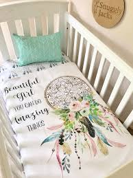 Girls Crib Bedding Baby Cot Crib Quilt Blanket Boho Amazing Things Dreamcatcher