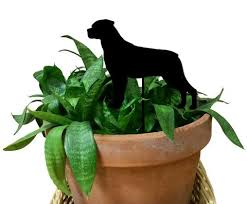 rottweiler ornament or plant stake memorial rustica