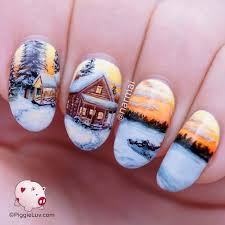 freehand winter cabin landscape nail art cabin trek and landscaping