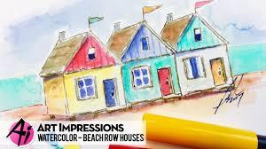 ai watercolor beach row houses youtube