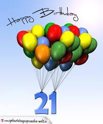 geburtstagssprüche 21 geburtstagskarte mit luftballons zum 21 geburtstag