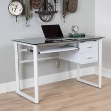 Glass Computer Desk With Drawers Tempered Glass Computer Desk Wayfair