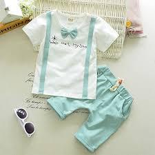 Sho Bayi baby cotton tie print t shirt tops solid shorts