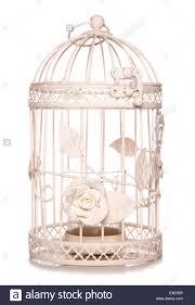 shabby chic bird cage candle holder studio cutout stock photo