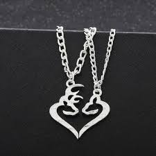 buck and doe heart buck his doe heart necklace 2 pc set browning