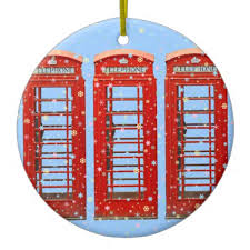 iconic phone boxes pastel snowflakes ceramic ornament