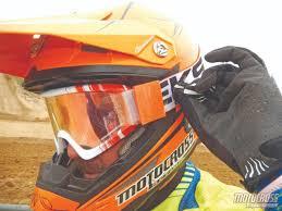 motocross helmets with goggles motocross action magazine mxa team tested eks brand ez tear strap