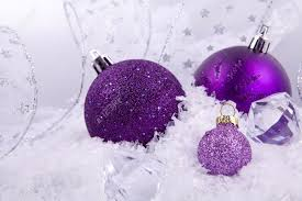 White Glitter Christmas Decorations by Beautiful Christmas Decoration In Purple And Silver On White