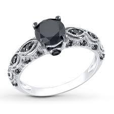 Jared Cushion Cut Engagement Rings Black Diamond Wedding Rings Jared Black Diamond Ring 1 1 4