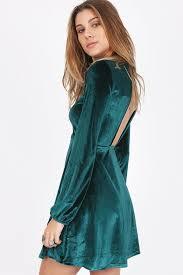 forest green velvet round neckline long sleeve back open cut